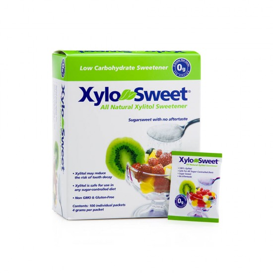 Indulcitor XyloSweet, 100% xylitol, 100% natural, cutie 100 pliculete x 4g