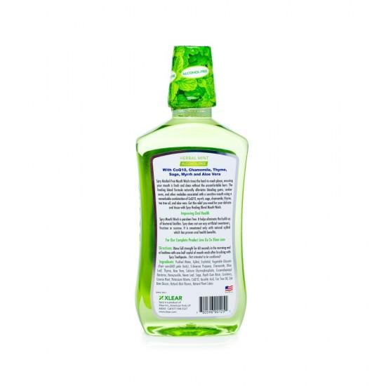 Apa de gura naturala cicatrizanta SPRY plante de menta – fara alcool, 473 ml.