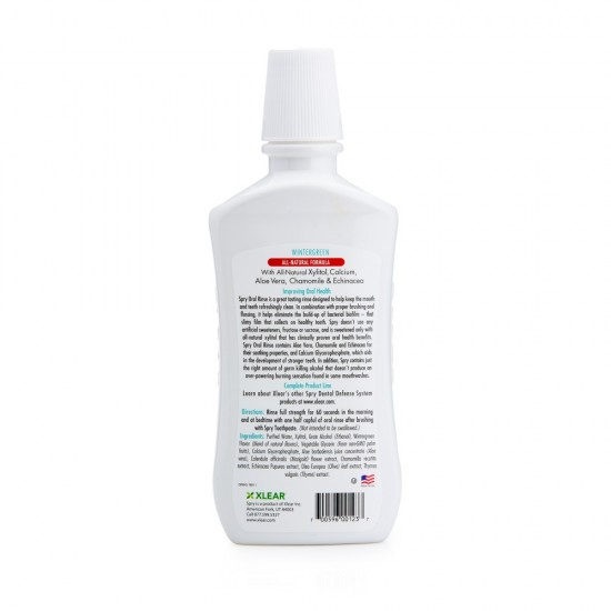 Apa de gura cu xylitol, SPRY, cu alcool, ingrediente naturale, aroma menta Spearmint, 473 ml