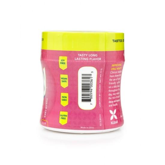 Guma de mestecat cu xylitol, SPRY, fara zahar, 100% ingrediente naturale, aroma guma de mestecat (bubble gum), borcan 55 bucati