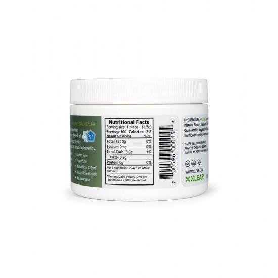 Guma de mestecat cu xylitol, SPRY, fara zahar, 100% ingrediente naturale, aroma ceai verde (green tea), borcan 100 bucati