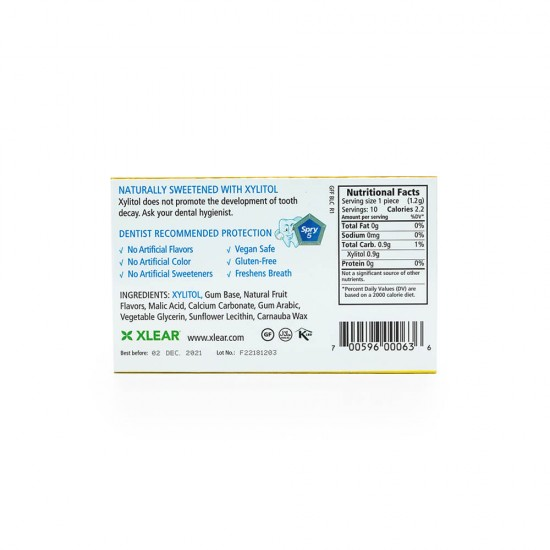 Natural Fruit Xylitol Gum - 10ct Cards (20 Pack)