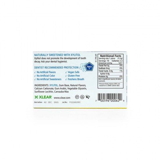 Natural Spearmint Xylitol Gum - 10ct Cards (1 Pack)