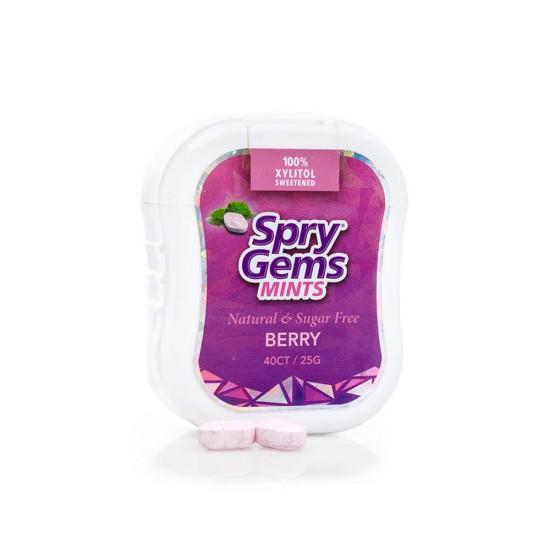 Drajeuri Gems cu xylitol, SPRY, fara zahar, ingrediente naturale, aroma fructe de padure (berry blast), cutie cu 40 bucati