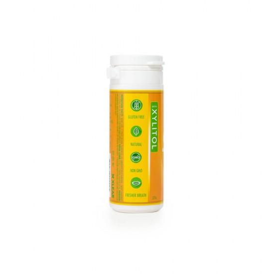 Drajeuri cu xylitol, SPRY, fara zahar, ingrediente naturale, aroma lamaie (lemon), tub cu 45 bucati