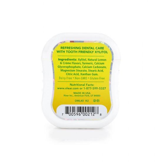 Drajeuri Gems cu xylitol, SPRY, fara zahar, ingrediente naturale, aroma lamaie (lemon), cutie cu 40 bucati