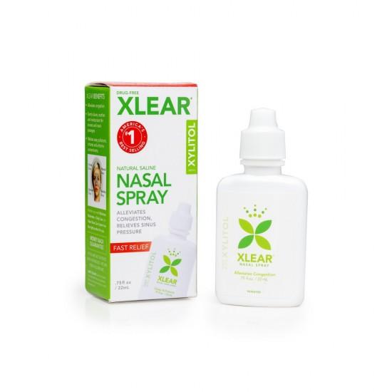 Picaturi nazale cu xylitol, pentru adulti, fluidifiante, ingrediente 100% naturale, nu creeaza dependenta, 22 ml, XLEAR